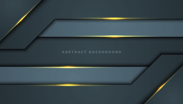 黒のオーバーラップレイヤーと暗い抽象的な背景。黄金の効果要素の装飾を持つテクスチャー。 Premiumベクター