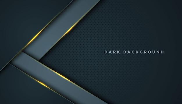 Темный абстрактный фон с черными слоями перекрытия. текстура с золотой эффект элемента украшения. Premium векторы