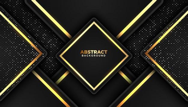 Темный абстрактный фон с перекрытием слоев. золотые блестящие точки Premium векторы