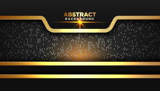 オーバーラップレイヤーと暗い抽象的な背景。金色のキラキラドット要素 Premiumベクター