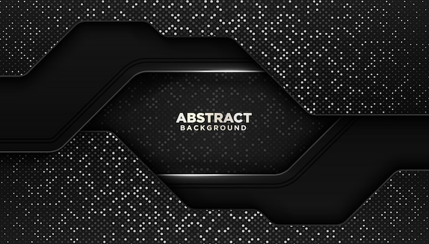 Черный абстрактный геометрический фон с блестками точек украшения элемента Premium векторы