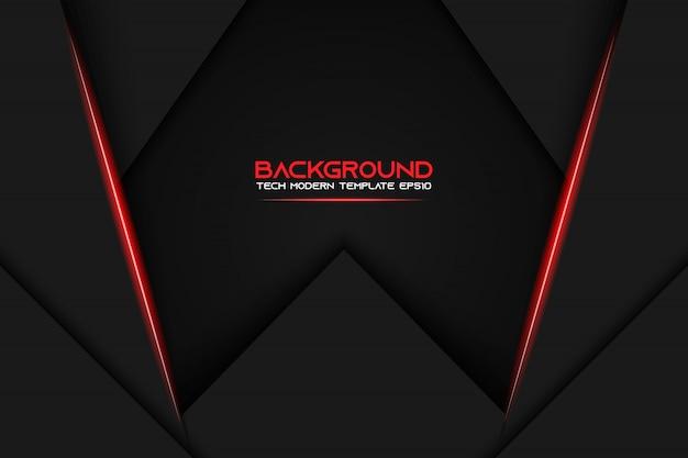 抽象的な金属赤黒フレームレイアウトのモダンなハイテクデザインテンプレートの背景 Premiumベクター