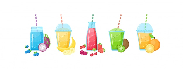 Свежий фруктовый коктейль коктейль коктейль набор иллюстрации Premium векторы