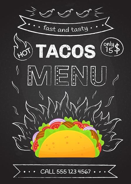メキシコ料理ファーストフードタコスメニューポスター Premiumベクター
