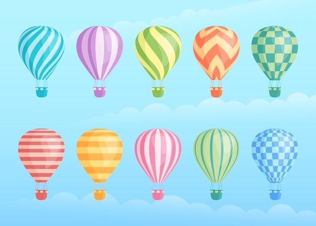 カラフルな熱気球のコレクション Premiumベクター
