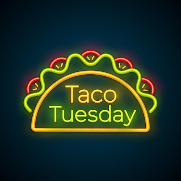 Традиционный тако вторник еды знак неонового света Premium векторы