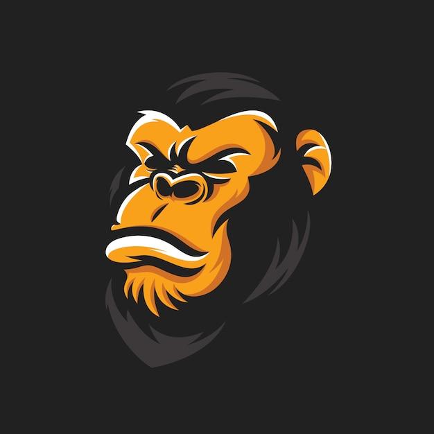 Прохладный вектор головы гориллы Premium векторы