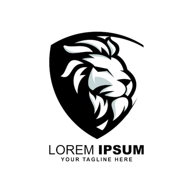 ライオンヘッドのロゴ Premiumベクター