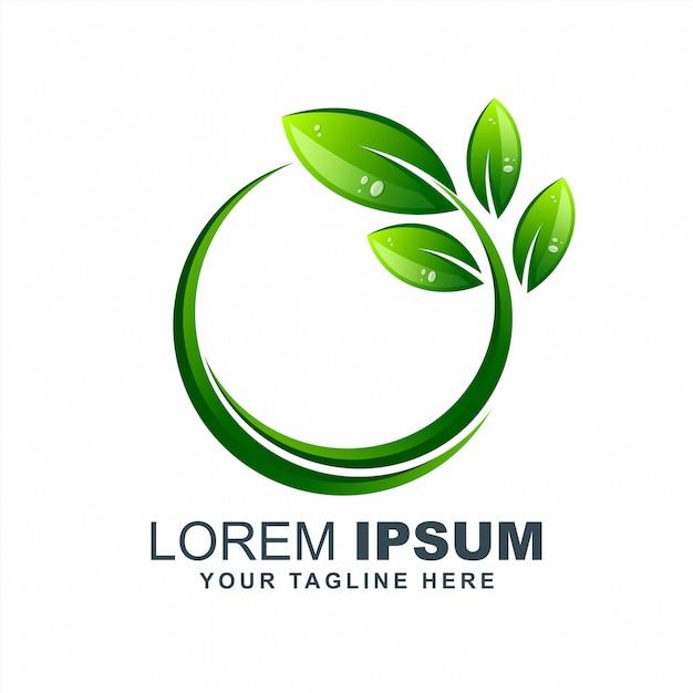 リーフグリーン成長エコ純粋なロゴデザインのベクトル Premiumベクター