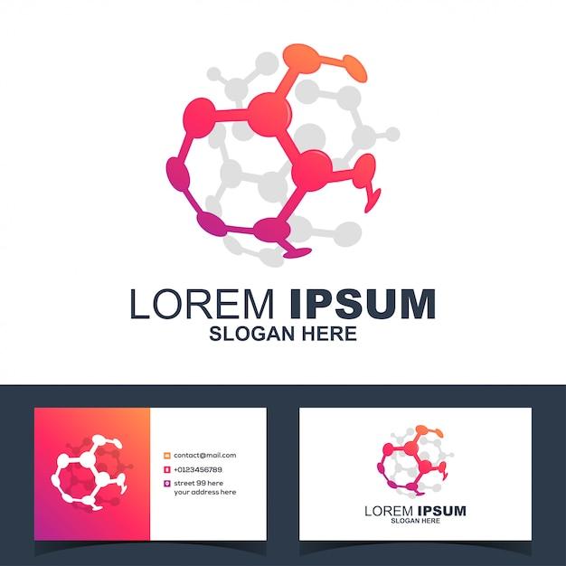 サークル化学科学のロゴのベクトル Premiumベクター