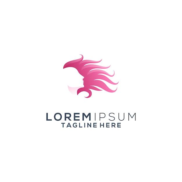 美容髪の女性のロゴ Premiumベクター