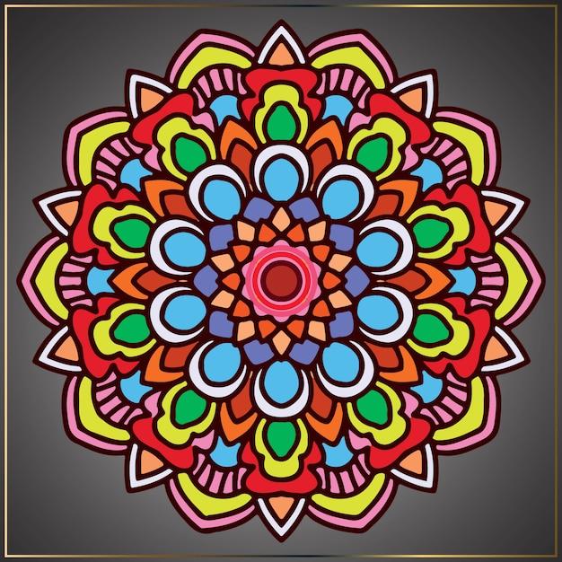 花をモチーフにしたヴィンテージのカラフルなマンダラアート Premiumベクター