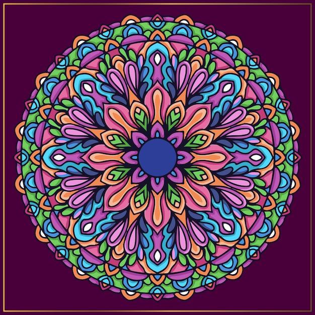 丸みを帯びた花をモチーフにしたカラフルなインドのマンダラアート Premiumベクター