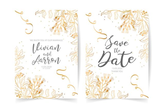 Современное свадебное приглашение с акварельными цветочными элементами Premium векторы