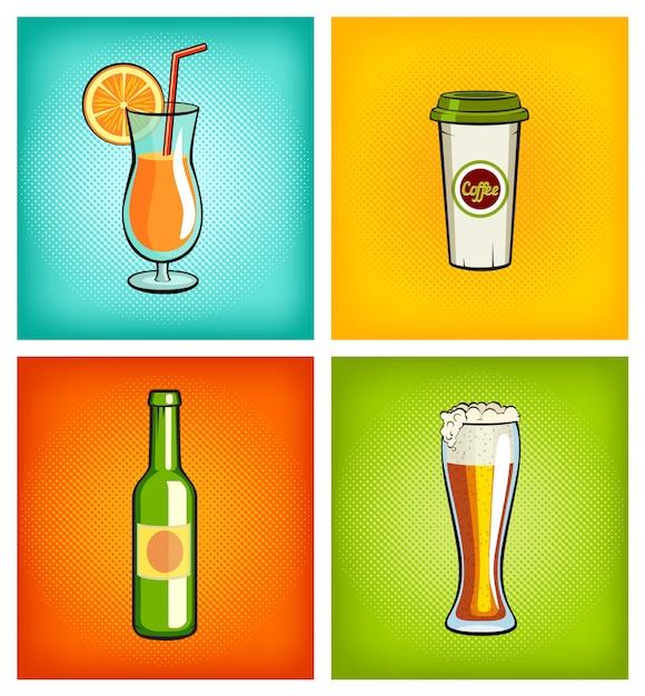 別の飲み物の広告イラスト Premiumベクター