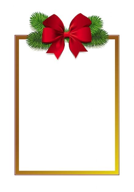 写真現実的な緑のクリスマスツリーの枝と赤の美しい弓とエレガントなゴールデンフレーム。冬の季節のご挨拶の長方形の背景。 Premiumベクター