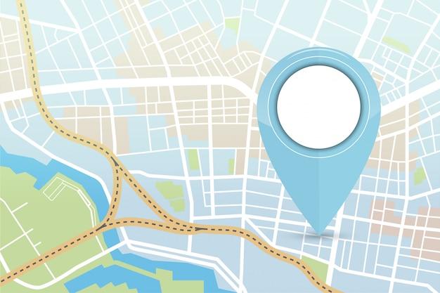 青い色のロケーターアイコンと市内地図 Premiumベクター
