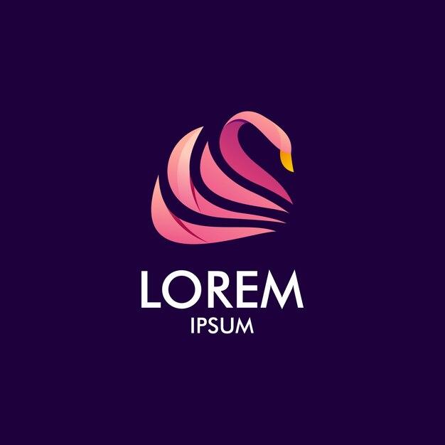 Логотип лебедя красоты Premium векторы