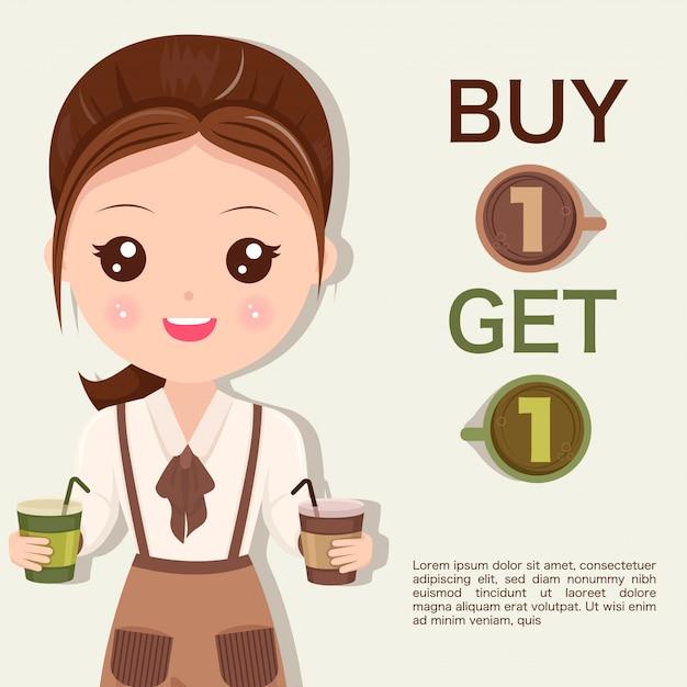 Персонал женщины рекомендовал продвижение кофе Premium векторы