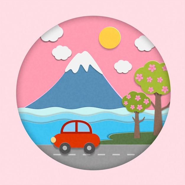 日本からの富士山の美しい景色 Premiumベクター