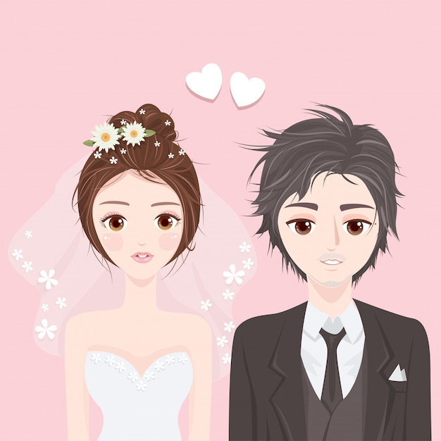 若い女性と男性の結婚式 Premiumベクター