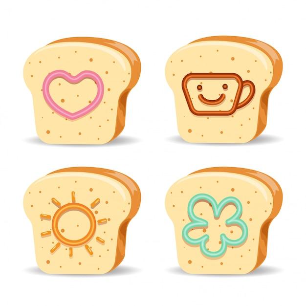パンとかわいいジャム Premiumベクター