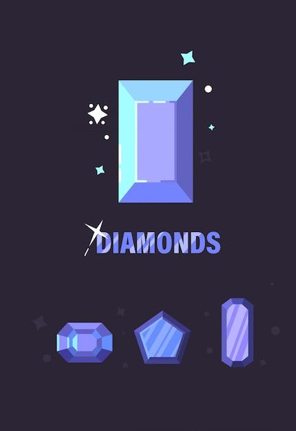 さまざまなカット形状のダイヤモンドのセットです。ダイヤモンドのベクトル図 Premiumベクター