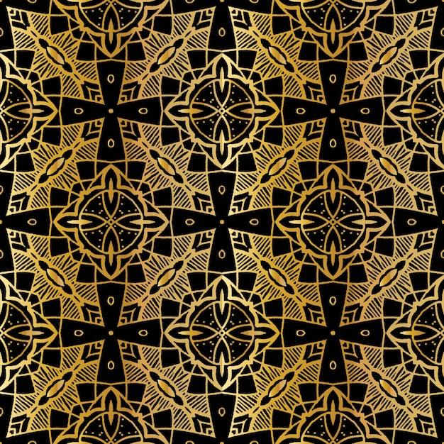 豪華なゴールドバティックシームレスパターン、バティックインドネシア語は布全体に適用されるワックスレジスト染色の技術 Premiumベクター