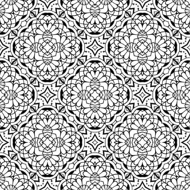 黒と白のバティックシームレスパターン、バティックインドネシア語は布全体に適用されるワックスレジスト染色の技術 Premiumベクター