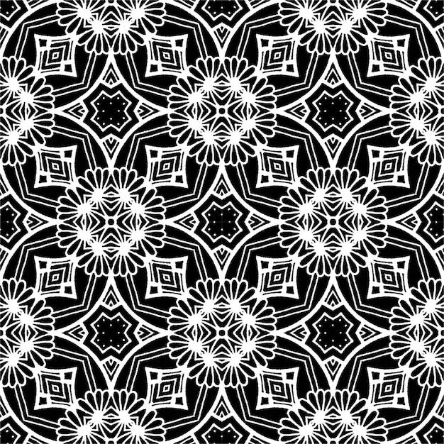 Черно-белый батик бесшовные, батик индонезийский - это техника воскорезистового окрашивания, наносимая на всю ткань Premium векторы