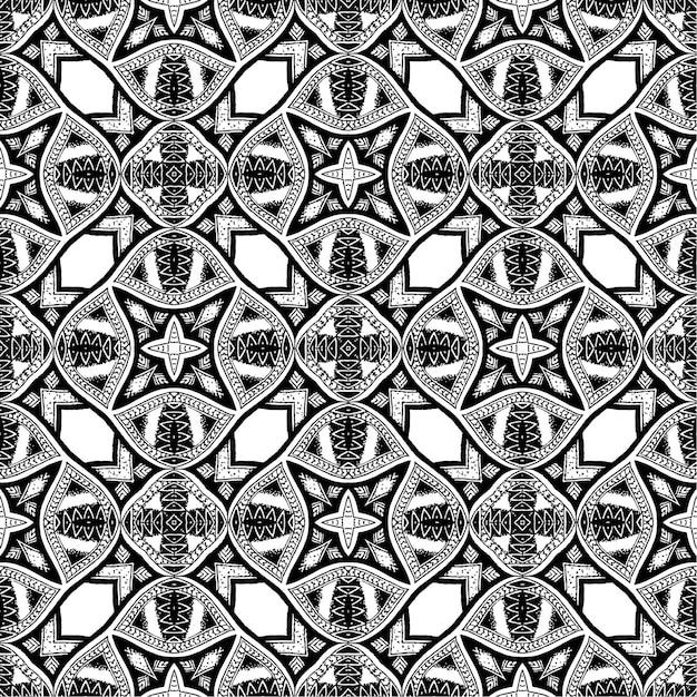 黒と白のバティックパターン背景 Premiumベクター