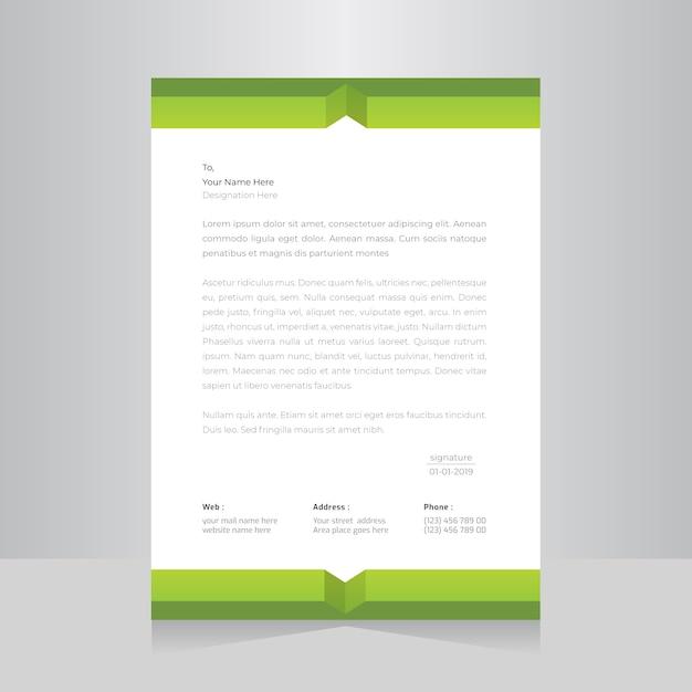 Зеленый цвет фирменный бланк шаблон. Premium векторы