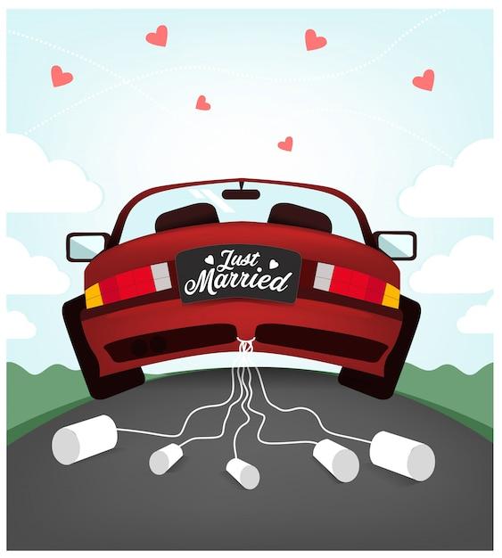 かわいい結婚式の車のイラスト Premiumベクター