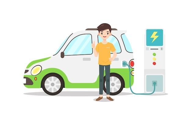 Человек персонаж стоит с его эко-автомобиль Premium векторы