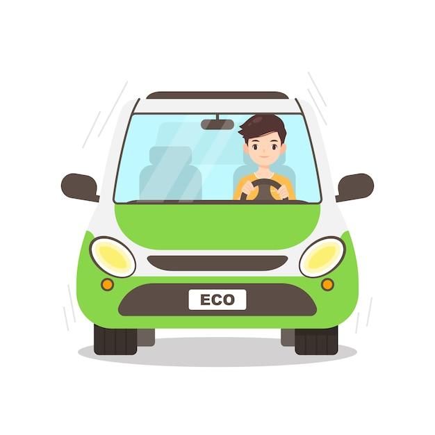 彼のエコカーを運転する男キャラクター Premiumベクター