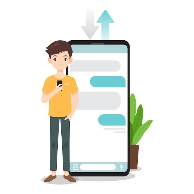 男のキャラクターは、スマートフォンを使用してチャット Premiumベクター