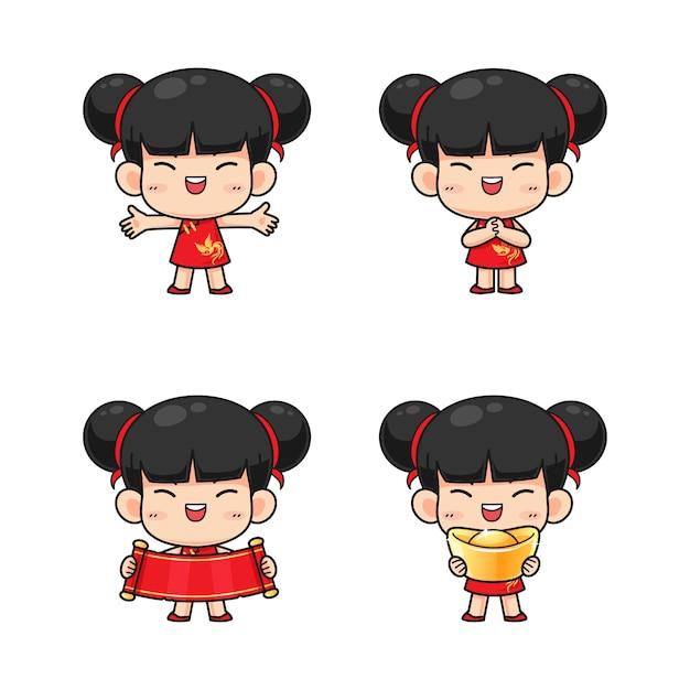 赤の伝統的な衣装でかわいい中国の女の子のコレクション Premiumベクター