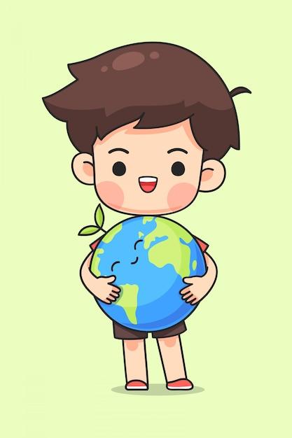 Милый мальчик обнять землю Premium векторы