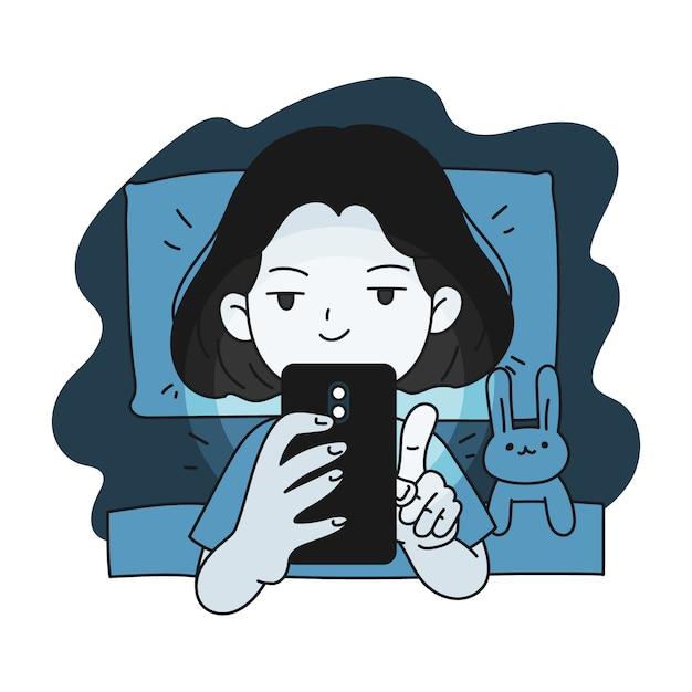眠れない少女がベッドでスマートフォンを使用 Premiumベクター