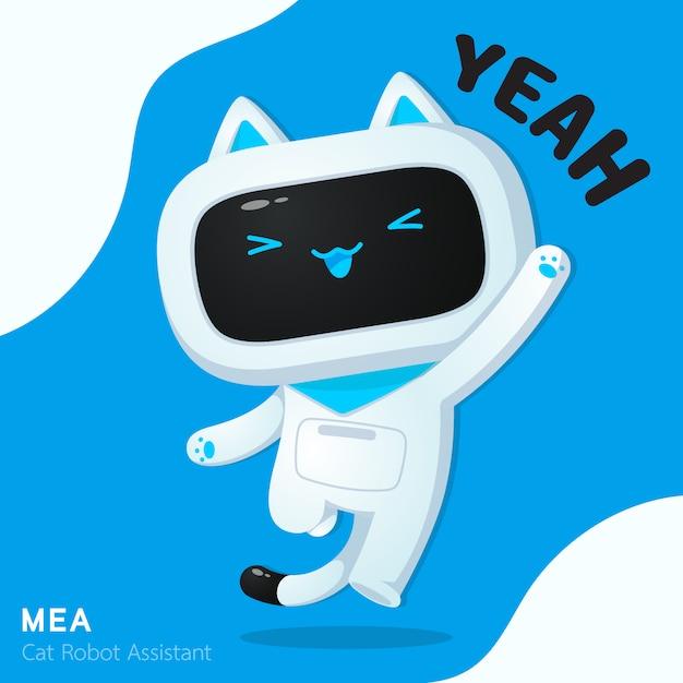 陽気なアクションイラストでかわいい猫ロボットアシスタントキャラクター Premiumベクター