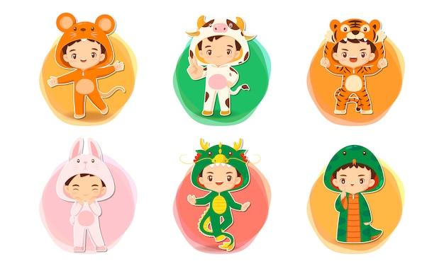 Набор милый мультипликационный персонаж в иллюстрации концепции китайского зодиака Premium векторы