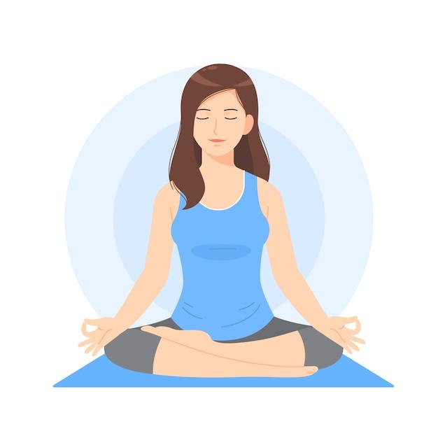 美しい女性漫画瞑想 Premiumベクター