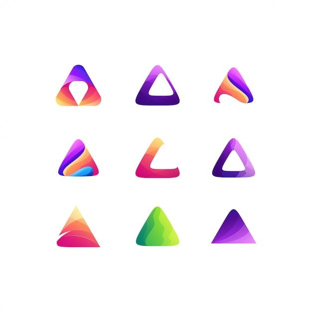 三角形セットグラデーションカラーロゴデザイン Premiumベクター