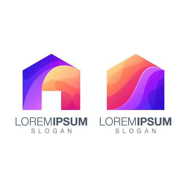 Домашний градиент цветной логотип Premium векторы