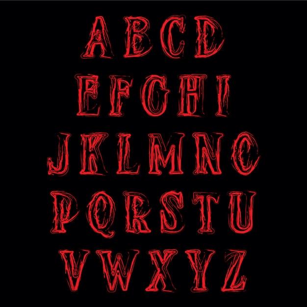 Абстрактный ужас алфавит. вектор Premium векторы