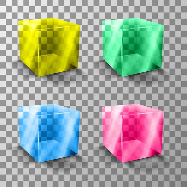 Стеклянный красочный прозрачный куб. презентация нового продукта. Premium векторы