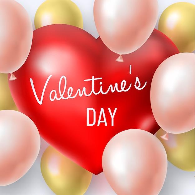 赤い大きなハートの周りのピンクと金色のインフレータブルボールとバレンタインデーの背景 Premiumベクター