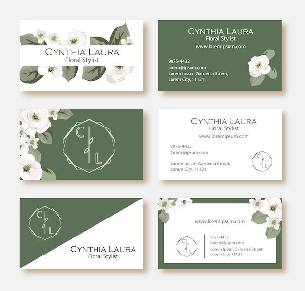 緑と白の花の名刺セット Premiumベクター