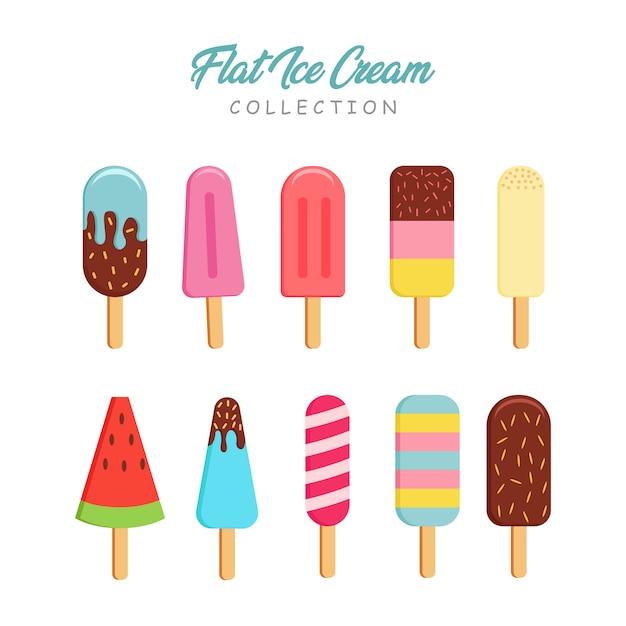 フラットスタイルのアイスクリームコレクション Premiumベクター