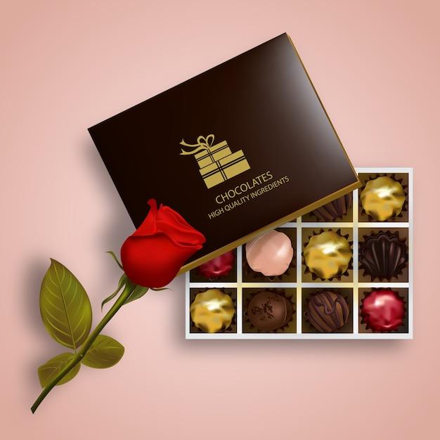Коробка с шоколадной иллюстрацией Premium векторы